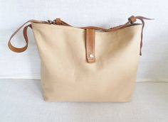 Christmas Sale 10 Off  Tan  Canvas Tote Bag   Leather von ottobags, $69,00