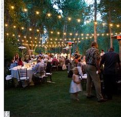 love the lights. reminds me of my wedding in the woods.