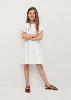 Ruffled sleeve dress - Teenage girl | Mango Kids India Dresses For Teens, Girls Dresses, Teen Fashion Outfits, Ruffle Sleeve, White Dress, Dresses With Sleeves, Mango, India, Work Inspiration