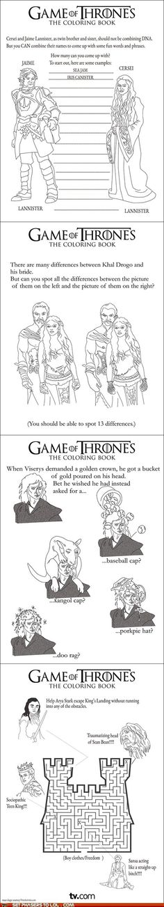 For all you Game of Thrones fans. So awesome activities and coloring pages. :D