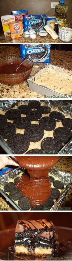 Some call it the Ultimate Chocolate Chip Cookie Oreo Brownie Bars; Others call it DEATH. Can you tell I'm an oreo freak! Brownie Oreo, Oreo Brownies, Oreo Bars, Oreos, Köstliche Desserts, Delicious Desserts, Dessert Recipes, Yummy Food, Dessert Healthy