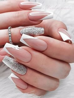 White Tip Acrylic Nails, Acrylic Nails Coffin Short, Coffin Shape Nails, White Nails With Glitter, Glitter Tip Nails, Nails With White Tips, French Tip With Glitter, Silver Tip Nails, Glitter Nail Designs