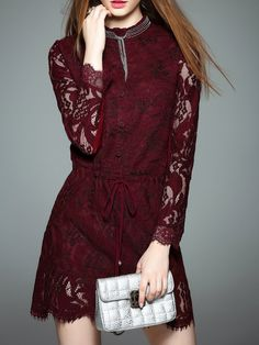 Red Lace Crew Neck Plain Long Sleeve Mini Dress