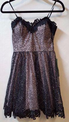 8edc1e498930 City Triangles Black Sequin Short Party Dress Scalloped Black Trim Size 9  New #Citytriangles #