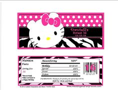 BDAY 6638 WP  - Kitty Birthday Candy Bar Wrapper