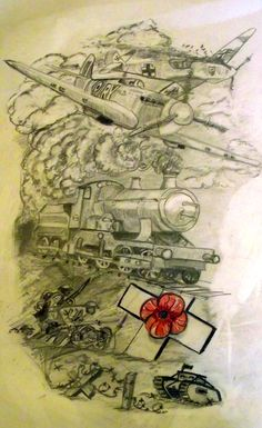 Based on the world wars, and a persons grand parents, one grandfather was a pilot the other a steam train driver #tattoo, #drawing, #poppy#worldwar