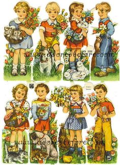 Vintage 1950s German Scrap Paper featuring Eight Darling Children