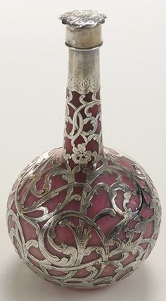 Perfume Bottle; English, Pink Mother-of-Pearl Satin Glass, Engraved Bella, Silver Overlay & Stopper, 6 inch.