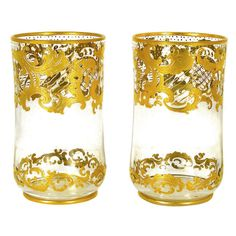 Twelve Raised Gold Tumblers by Josephine Hutte | From a unique collection of antique and modern tableware at http://www.1stdibs.com/furniture/dining-entertaining/tableware/
