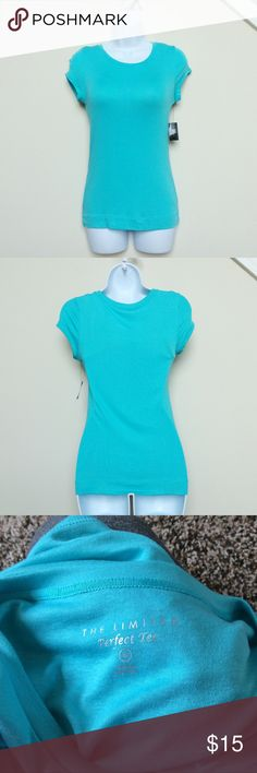 Aqua Blue Size S NWT T Shirt Perfect staple piece for spring and summer :) NWT size S scoop neck T shirt from The Limited.  Size S (may also fit XS).  Beautiful aqua blue color. The Limited Tops Tees - Short Sleeve