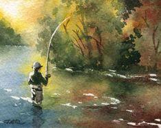 "Fly fishing Art Print - ""Fall Fishing"" - Watercolor Painting - Angling Art - Signed by Artist DJ Rogers - Wall Decor Trout Fishing, Fly Fishing, Fishing Games, Tuna Fishing, Fishing Boats, Alaska Fishing, Fishing Videos, Fishing Tips, John Deep"