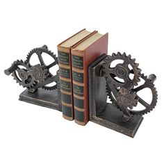 Add a touch of steampunk style to your setting with the Design Toscano Industrial Gear Sculptural Bookends . These bookends come as a pair and are as. Casa Steampunk, Steampunk Bedroom, Design Steampunk, Steampunk Furniture, Steampunk Fashion, Steampunk Interior, Steampunk Book, Steampunk Kitchen, Steampunk Home Decor