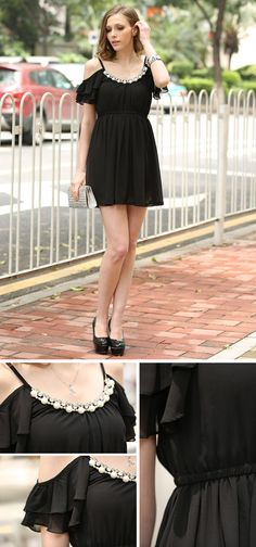A beautiful take on the little black dress - love the shoulder area and the little pearly embellishments.