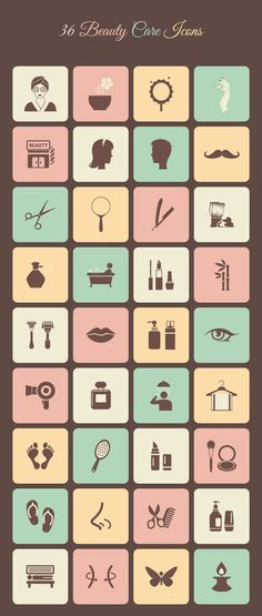 Beauty Care Icons Pack : 36 free icons available in AI, EPS and PSD file formats.