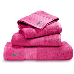 Ralph Lauren Home Player Towel - Pink - Bath Towel ($54) ❤ liked on Polyvore featuring home, bed & bath, bath, bath towels, bathroom, home decor, pink, towel, striped bath towels and embroidered bath towels