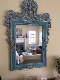 Chalk Paint Mirror, Mirror Painting, Painted Furniture, Furniture Ideas, Statues For Sale, New Construction, Mirrors, New Homes, Tray