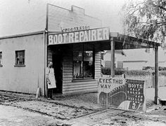 A bootmaker standing outside his shop: 'Barnes Boot Repairer'. (see also MM An advertising placard reads'Eyes. Boots half soled and heeled Victorian History, Melbourne Victoria, The Locals, Old Photos, Old Things, Museum, Australia, 1930s