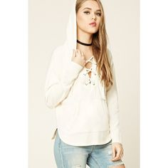 9acc0e489a Forever21 Lace-Up Front Hoodie (75 PEN) ❤ liked on Polyvore featuring tops