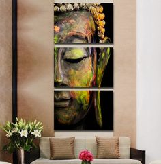 2016 5 panel de figura de buda de pintura moderna decoración del hogar de pared del arte decorativo envío gratis