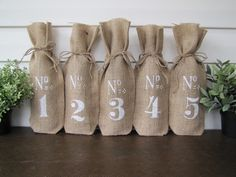Numbered Burlap Wine Bags Wedding Table Numbers by funkyshique, $65.00