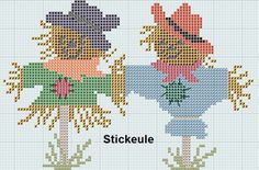 Stickeules Freebies: Herbst scarecrows cross stitch free