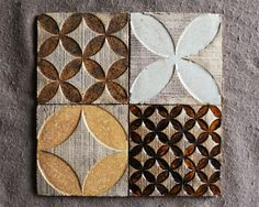 Rhomb&Circle Rustic Tiles by HerbariumCeramics on Etsy