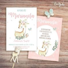 Kit Ciervita Nena del bosque. Imprimible personalizable Forest Party, Woodland Party, Baby Deco, Woodland Creatures, Bambi, 1st Birthdays, Alice, Baby Boy Shower, Birthday Invitations