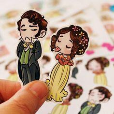 Elizabeth Bennet and Mr Darcy, from Pride and Prejudice. Ho trovato una nuova carta adesiva, lucidina e spessa e per l'occasione ho ricolorato Liz e Darcy ❤️ In arrivo nuovi stickers e bookmarks