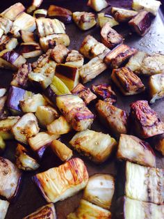 Learn how to roast cubed eggplant. Healthy, less oil than frying, tasty caramelized results. Yummy finger food, or add to your favorite recipe. - How to Roast Eggplant Cubes - Easy Healthy Tutorial Side Dish Recipes, Vegetable Recipes, Vegetarian Recipes, Cooking Recipes, Healthy Recipes, Baked Eggplant, How To Roast Eggplant, Cubed Eggplant Recipe, How To Bake Eggplant