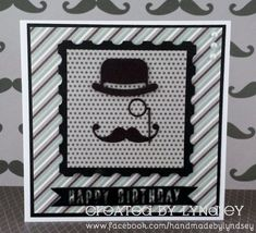 Simple masculine birthday card made using the Simply Creative - My Guy papers and First Edition Vintage Gentleman dies from @trimcraft