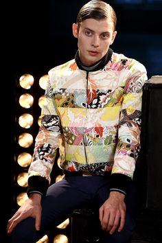 New post on mens-fashion-inspiration Jonathan Saunders, Fall Winter 2014, Gq, Male Models, Jon Snow, Bomber Jacket, Men Casual, Ruffle Blouse, Mens Fashion
