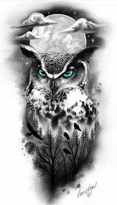 Eagle Tattoos, Skull Tattoos, Animal Tattoos, Body Art Tattoos, Owl Tattoo Drawings, Tattoo Sketches, Best Sleeve Tattoos, Tattoo Sleeve Designs, Realistic Owl Tattoo