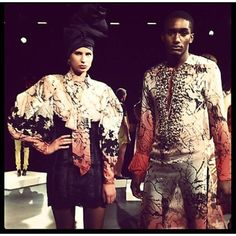Loving the prints and the African headwrap styling at David Tlale SS13 NYFW Courtesy @hautefashionafrica