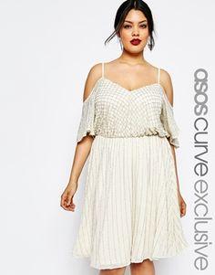 ASOS CURVE Embellished Skater Dress with Cold Shoulder & Flutter Sleeve
