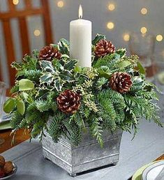 20 Magical Christmas Centerpieces That Will Make You Feel Th.- 20 Magical Christmas Centerpieces That Will Make You Feel The Joy Of The Holidays Galvanized Container Candle Centerpiece - Christmas Candle Decorations, Christmas Flower Arrangements, Christmas Flowers, Christmas Themes, Christmas Candles, Christmas Greenery, Christmas Centrepieces, Table Decorations, Candle Arrangements