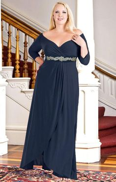 Jewelled Waist Dress for Mother of the Bride, plus size