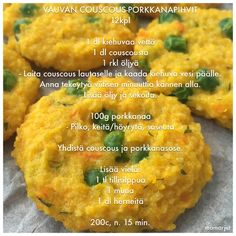 Vauvan couscous-porkkanapihvit Baby Finger Foods, Baby Foods, Baby Led Weaning, Baby Food Recipes, Baked Potato, Couscous, Food To Make, Nom Nom, Food And Drink