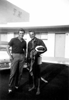 Candid shot of Clint Eastwood and Eric Fleming outside a hotel, September Clint Eastwood, Classic Hollywood, Old Hollywood, Hollywood Actresses, Actors & Actresses, Hollywood Celebrities, Tv Westerns, The Expendables, Christina Hendricks