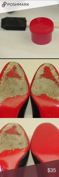 color matached RED PAINT to re-touch LOUBOUTINS small container of odorless color-matched red paint for quick and easy touch-up of your CHRISTIAN LOUBOUTIN soles.  Container of paint includes small sponge applicator for easy application of paint.  I suggest you trim shoes with blue painters tape all the way around prior to applying paint to avoid getting any paint on your actual shoe uppers.  One container will re-color 3-5 pairs of shoes depending on how badly scuffed up they are. PHOTOS…