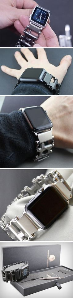 The Apple Watch, a champion of digital and technological advancements, putting absolute informational power around your wrist. The Leatherman, a unique, innovative band that combines 29 different tools into a wearable, putting sheer technical power around your wrist. Combine them, and you won't find a more iconic duo! BUY NOW!