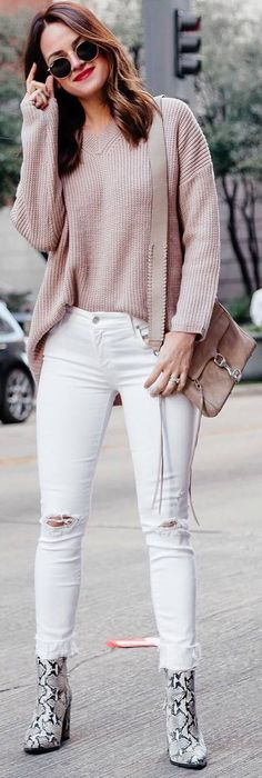 #spring #outfits pastel sweater, white jeans, animal pattern boots