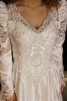 Vintage Wedding Gown  1980's White Wedding by BellaVitaVintage, $94.00