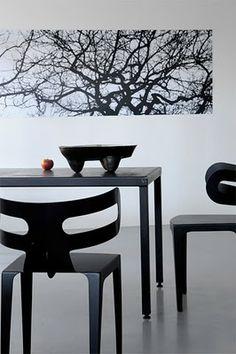 Franck EVENNOU, photos Nicolas Tosi black and white dining room