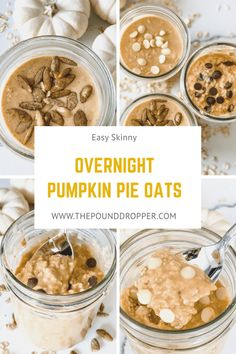 These Easy Skinny Overnight Pumpkin Pie Oats make for the perfect meal prep! Just spendjust a few minutes in the evening preparing your oats, and you'll have a quick and easy, filling breakfast in the morning! via @pounddropper Ww Recipes, Clean Recipes, Brunch Recipes, Breakfast Recipes, Cooking Recipes, Skinnytaste Recipes, Breakfast Ideas, Healthy Recipes, Ripped Recipes