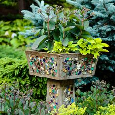 Garden Designs Ideas 2018 : A vintage container near the house holds 'Matrona' sedum and 'Margarita' sweet-potato vines. Mosaic Garden, Glass Garden, Greenhouse Shed, Shed Interior, Potato Vines, Mosaic Pieces, Vintage Planters, Glass Flowers, Garden Gates