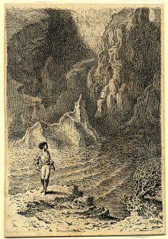 Mervyn Peake, Illustration to Treasure Island, divisional title for Part III – My Shore Adventure, 1947–49, ink on paper. Reproduced by permission of the Mervyn Peake Estate.