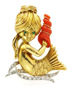 An Emerald, Coral and Diamond 'Mermaid' Brooch, by Van Cleef & Arpels. Available at FD Gallery. www.fd-inspired.com