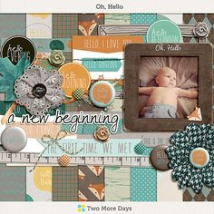 Oh, Hello    A digital scrapbooking kit by Two More Days. Includes 8 pattenered papers and 34 elements. Available for free when you sign up for the newsletter.