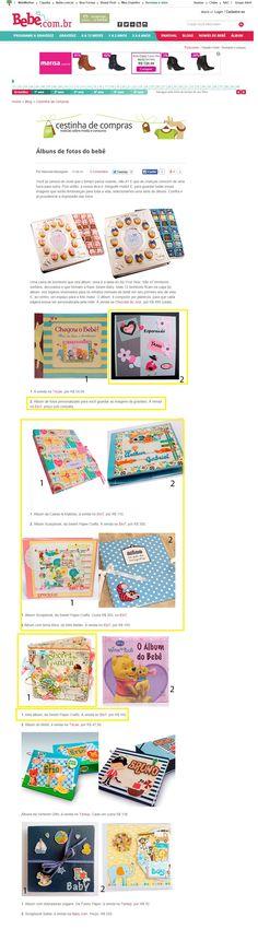 Seis produtos da Elo7 foram publicados no Blog Cestinha de Compras, em matéria sobre albums de fotos para bebês.