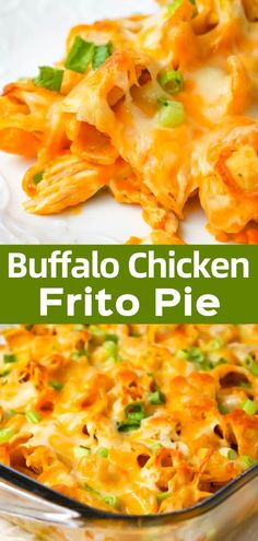 Buffalo Chicken Frito Pie is an easy casserole recipe using shredded rotisserie chicken and diced celery tossed in Buffalo sauce and ranch dressing, all topped with Fritos corn chips and cheese. Rotisserie Chicken Casserole Recipe, Chicken Nachos Recipe, Recipes Using Rotisserie Chicken, Cheesy Chicken Casserole, Chicken Recipes, Vegan Recipes Easy, Easy Dinner Recipes, Appetizer Recipes, Diet Recipes